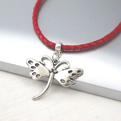 Silver Alloy Butterfly Wings Pendant Braided Red Leather Cord Choker Necklace