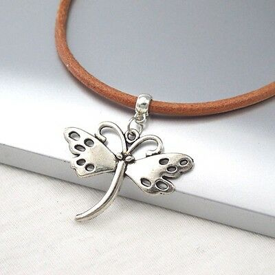 Silver Alloy Butterfly Wings Pendant Light Brown Leather Cord Choker Necklace