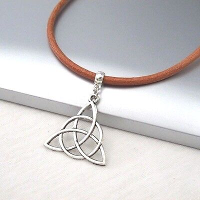 Silver Alloy Triangle Celtic Symbol Pendant Light Brown Leather Ethnic Necklace