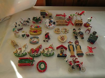 Lot Of 35 Vintage Wooden Christmas Ornaments Made In Taiwan