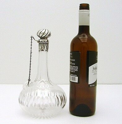 Turkish Style Gorham Sterling Silver & Cut Glass Decanter marked Sterling