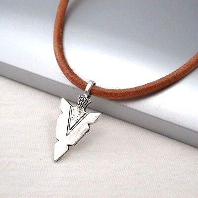 Silver Alloy Native American Spear Arrow Pendant Brown Leather Choker Necklace