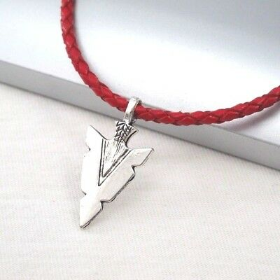 Silver Alloy Spear Arrow Symbol Pendant Braided Red Leather Cord Ethnic Necklace