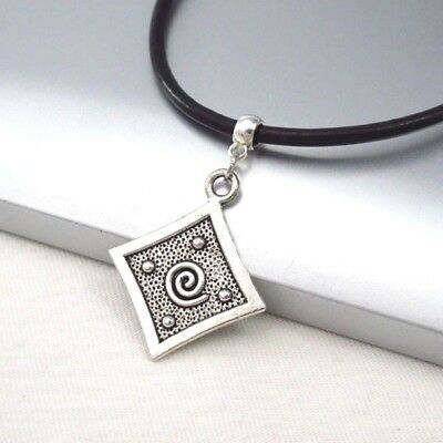 Silver Alloy Square Spiral Pendant 3mm Black Leather Cord Choker Necklace