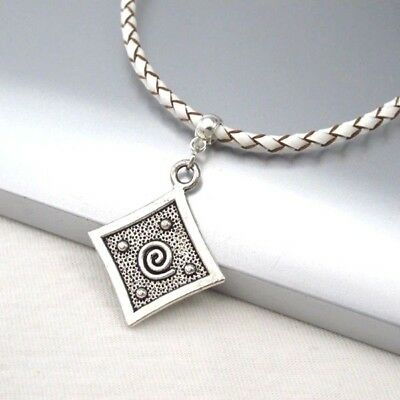 Silver Alloy Square Spiral Pendant Braided White Leather Choker Necklace