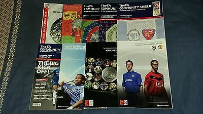 Charity / Community Shield Programmes x9 2000-2009 (All Listed