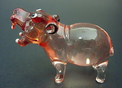 Glass HIPPOPOTAMUS Jungle HIPPO Reddy Brown Glass Ornament Tinted Glass Animal