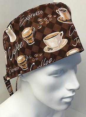 Coffee Print Medical Surgical Surgery OR Skull Scrub Hat Chemo Cap