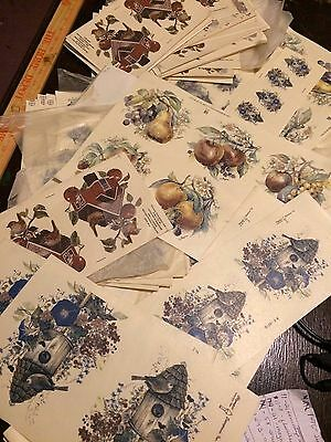 GIANT LOT OF 850 PIECES OF VINTAGE CERAMIC WATERSLIDE DECALS.Birds,Roses,Fruit