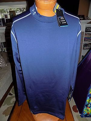 NWT Men's Under Armour Cold Gear Fitted Mock Turtleneck Shirt NAVY  $49.99  3XL