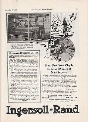 1926 I-R Ingersoll-Rand Co New York NY Ad: NYC Building 10 Miles of New Subway