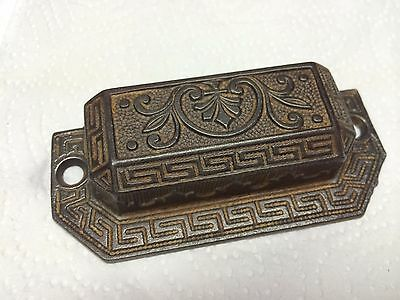 "Antique Victorian Cast Iron Drawer Pull 3 3/4"" Cup Fleur de Lis Ornate Patd 1873"