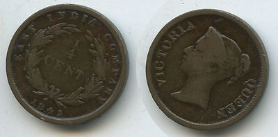 G6175 - East India Company ¼ Cent 1845 KM#1 Strait Settlements