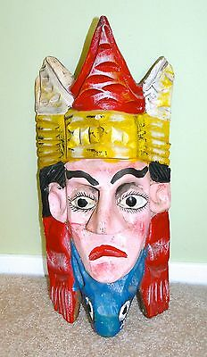 """VINTAGE MEXICO NAHUA FACE MASK, CARVED WOOD, FOLK ART 18"""" Tall ~Very Cool~"""