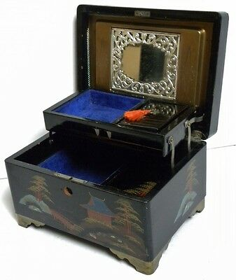 Vintage Lacquered And Inlaid Hand Painted Japanese Music Jewellery Box