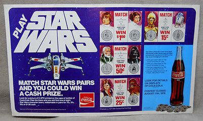 1977 Star Wars Coca-cola Paper Bottle Cap  Advertising Poster.