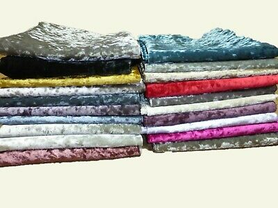 CRUSHED GLITZ VELVET FABRIC - Upholstery Curtains Cushions (17 COLOURS)