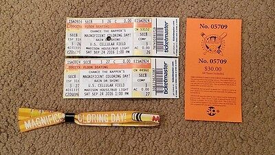 Chance The Rapper Coloring Day Chicago (2) Ticket Stub + Pass Kayne West Ticket