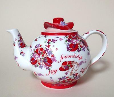 Paul Cardew Red Hat Society Large PINK CHINTZ Tea Pot - Friendship Sisterhood
