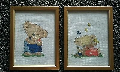 Pair of cute koala bear cross-stitch framed pictures.