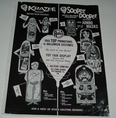 1960's Halco Halloween Costumes Ad w/ Advertising Characters