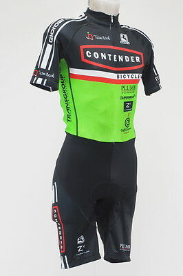 Giordana 2013 Contender Club Short Sleeve Skin Suit Size Large ( Black/Green)