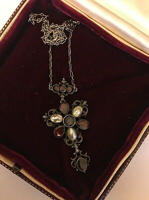 Vintage Austro Hungarian Garnet And Pearl Pendant Necklace Sterling Silver