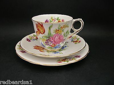 Royal Stafford Floral Spray Vintage Bone China Trio Cup Saucer Plate Plate c1940