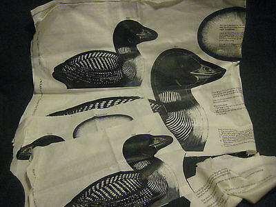 LOON LOT fabric printed panel V.I.P. Cranston stuffed toy pillow 3 Water Birds