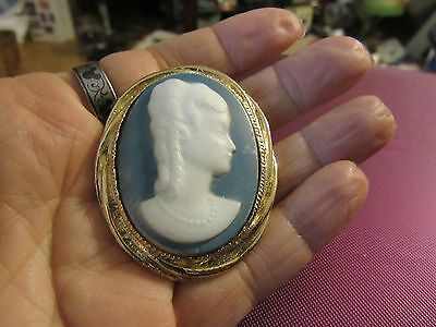 Vintage  brooch pin / Medallion   Blue and White cameo