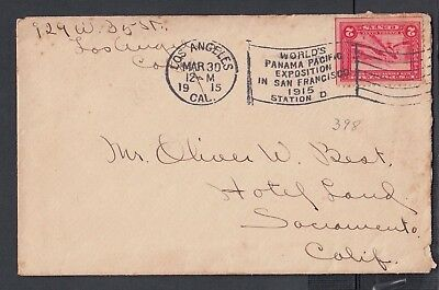 Usa 1915 Los Angeles Panama Pacific Expo American #98 Machine Cancel Cover Rf S