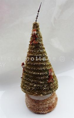 antique MUSIC windup CHRISTMAS TREE PIPE CLEANER SANTA ORNAMENT mercury glass tp