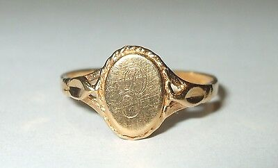 Vintage Solid 10K Yellow Gold Ladies Oval Signet Ring Sz6 Initial P Monogram