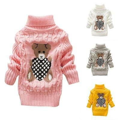 Baby Kids Girls High-necked Knit Sweater Toddler Winter Warm Pullover Outwear