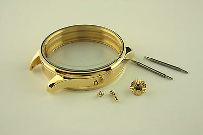 Stainless steel Case 47mm for Antique Pocket Watch Movements golden strap 22mm