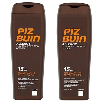 2 X PIZ BUIN Allergy Sun Sensitive Skin Lotion  15 SPF 200ml