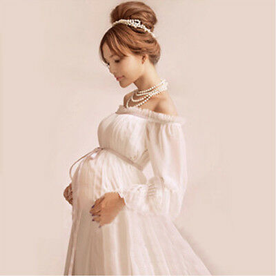 Pregnant Womens White Long Dresses Maternity Photography Props Clothing Dress