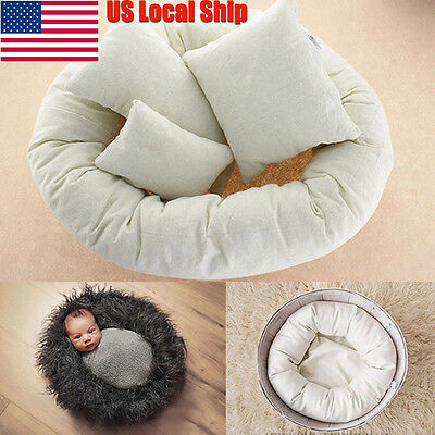 4PCS/Set Baby Newborn Photography Pillow Basket Filler Wheat Donut Posing Props