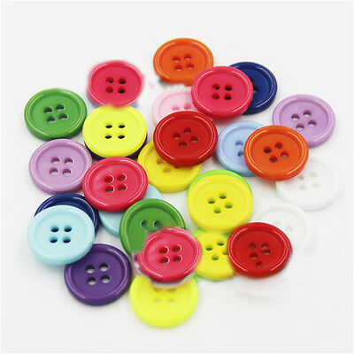 100pcs Mixed Color Round 4-holes Plastic Buttons DIY Thirt Clothes Craft Sewing