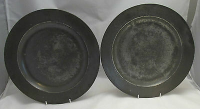 A Pair of 18th Century of Pewter Dinner Plates by John Home - Dog Crests