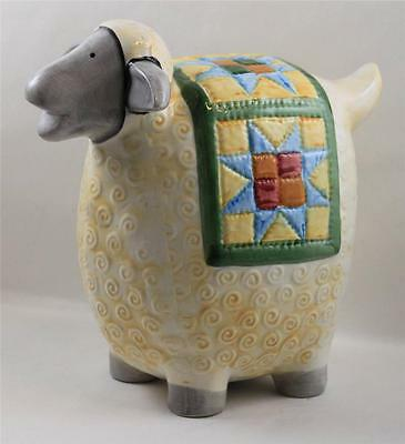 Piggy Bank Lamb Sheep Coin Quilted Patchwork Quilt Yellow Blue Blanket