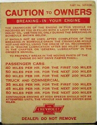 1940s 1950s Chevrolet Breaking In Your Engine Owners Guide Original Sales Folder