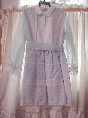 Vtg. CLAIRE BROOKE ORIGINAL-Baby Blue Dotted Swiss Girls Dress-Size 8