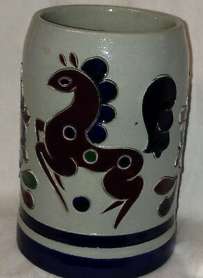 King Original Germany Mug Stein Tankard 413 Incised Red Blue Horse & Flowers .5L