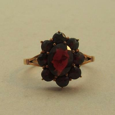 Antique 14k Rose Gold Garnet Cluster Ring