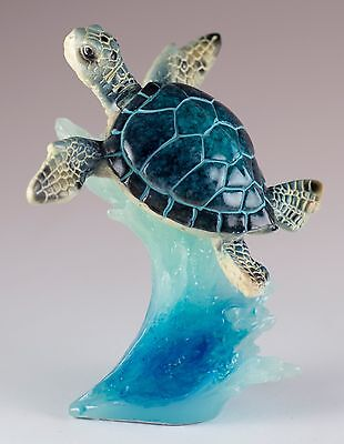 Sea Turtle On Wave Figurine 4.5 Inch High Resin New In Box