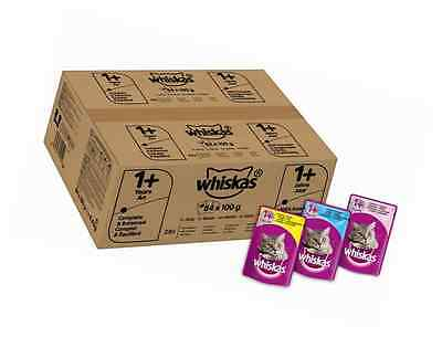 Whiskas Wet Cat Food 84 x 100 g Pouch for 1+ Adult, Mixed Selection in Jelly