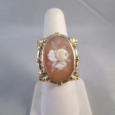 UNIQUE 14K YELLOW GOLD CARVED SHELL FLOWER FLORAL CAMEO RING Sz 6.25