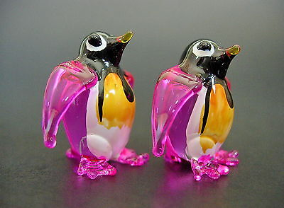 2 Tiny Glass PENGUINS Pink Painted Glass Animals Miniature Glass Ornaments Gift