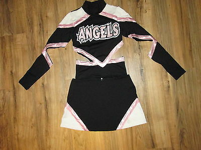 NEW Sexy Cheerleader Uniform Outfit Crop ANGLES Blk Pink Competition Style Sz S